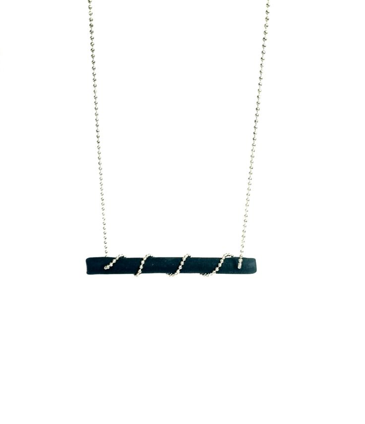 Black Bar Contemporary Short Necklace, Minimal and Modern Polymer Clay Jewelry, Gift for Teens by BeeJouJoux on Etsy