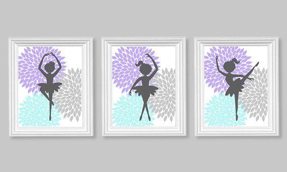 Ballerina Dancer Aqua Purple Gray Girl's by SweetPeaNurseryArt, $40.00