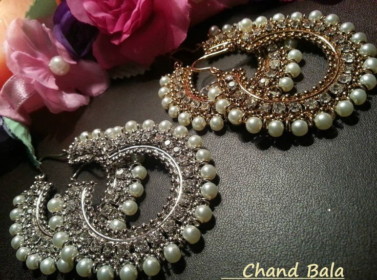Stunning bollywood chand bala Indian jhumka white pearl earrings Golden & Silver