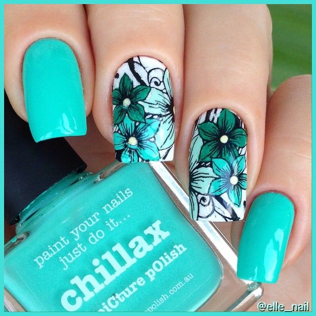 "Picture Polish ""Chillax"" and #reversestamping with Picture Polish ""Chillax"" & ""Tiffany"" & ""Enchanting"" & #pueen plate SE04B"