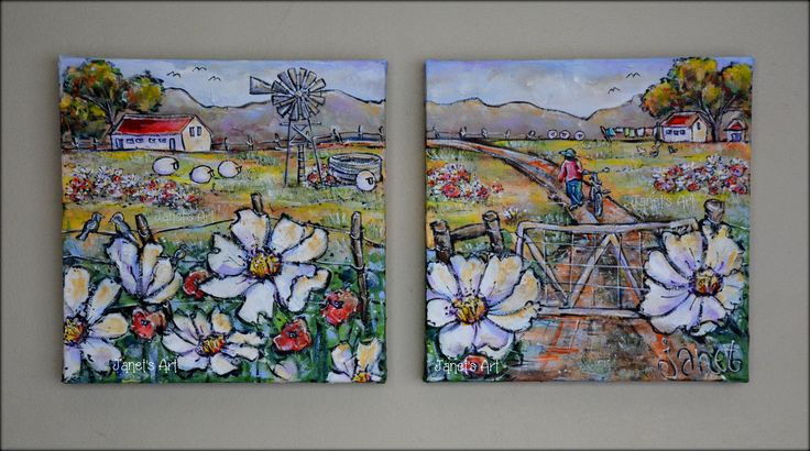 Wildflowers, Set of 2 - Janet's Art Acrylic on stretched canvas janet1bester@gmail.com