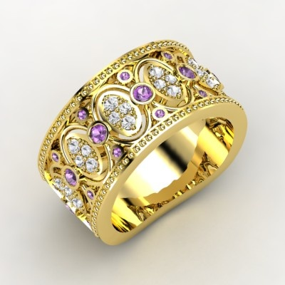 The Renaissance Band #customizable #jewelry #amethyst #sapphire #gold #ring