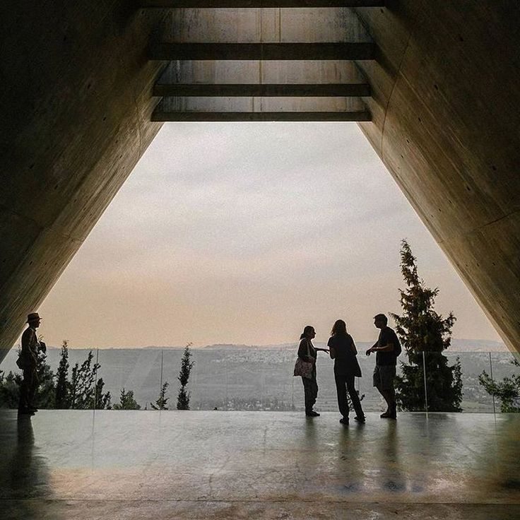 View from the balcony upon exiting Yad Vashem's Holocaust History Museum. Architect: Moshe Safdie