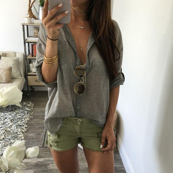 Leros Cut Off Shorts - Olive