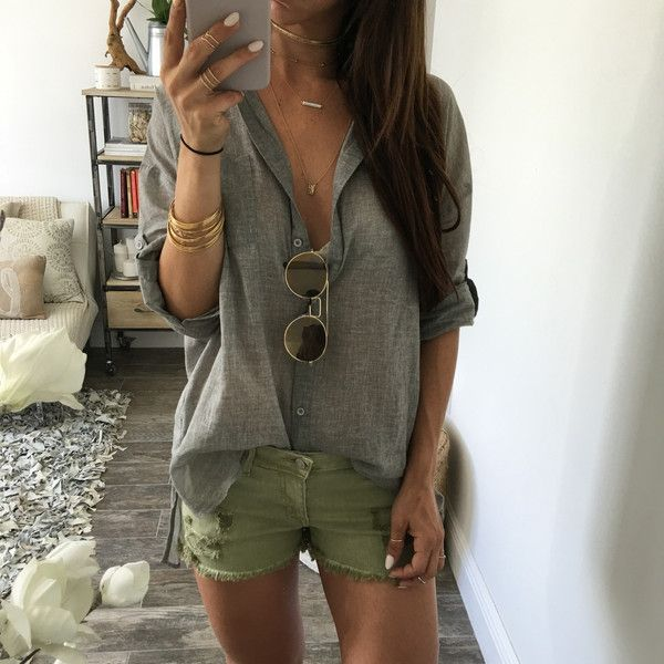 Leros Cut Off Shorts - Olive