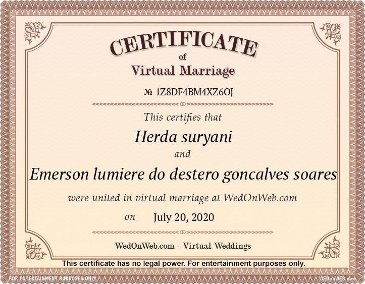Marriage Certificate Virtual Weddings For Fun By Wedonweb In 2020 Wedding Certificate Marriage Married
