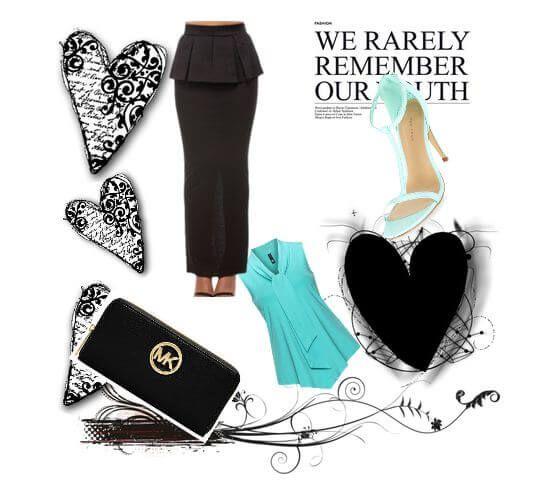 Длинная черная юбка с баской, бирюзовая блузка свободного кроя, клатч, босоножки