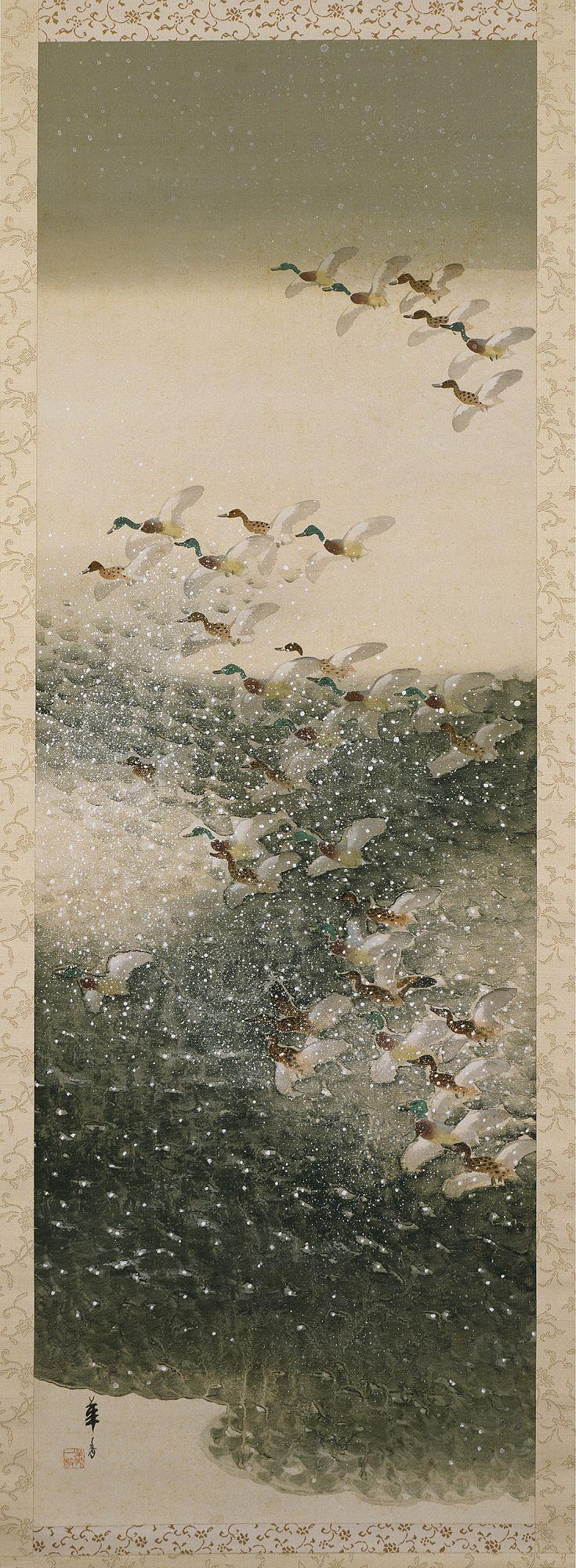 Waterfowl in Snow.  Tsuji Kakō (1870–1931).  Japan, ca. 1918.  Hanging scroll.  Ink, gofun, and colors on silk.  Seattle Art Museum. In Freer's exhibit on Sotatsu.