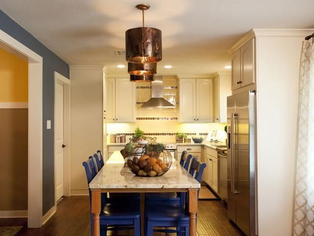 Popular makeovers from the HGTV hit series, Property Brothers -->  http://hg.tv/vyoyProperty Brothers, Beautiful Kitchens, Design Ideas, Small Kitchens, Dining Chairs, Andor Property, Kitchens Islands, Blue Chairs, Dining Room Chairs
