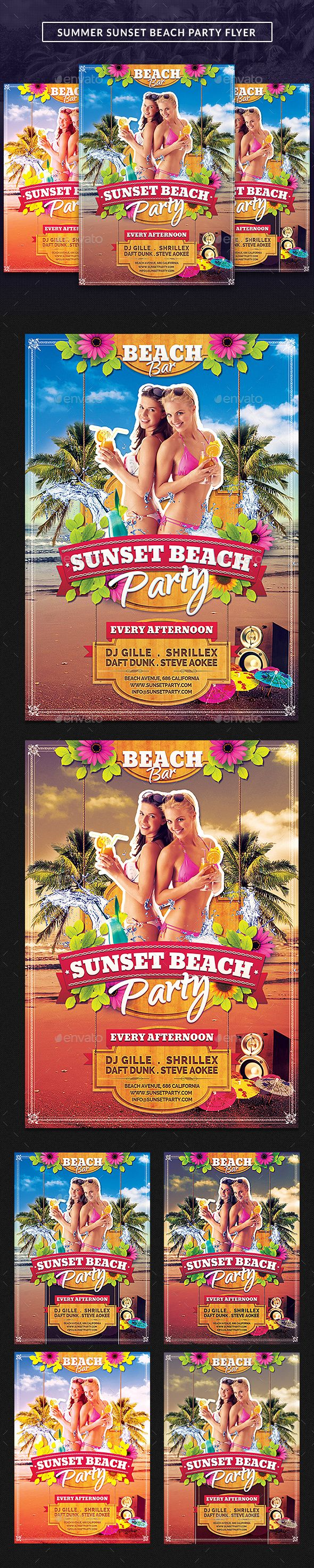 Summer Sunset Beach Party #Flyer - Clubs & Parties Events Download Here:   https://graphicriver.net/item/summer-sunset-beach-party-flyer/8340230?ref=suz_562geid