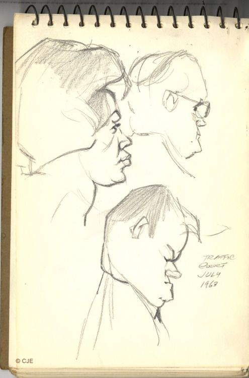 directedbychuckjones:L.A. Traffic Court, 1963From a sketchpad...