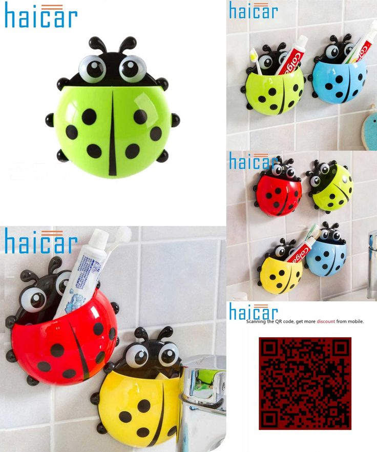 [Visit to Buy] New Arrival Lovely Ladybug Cartoon Suction Bathroom Accessories Products Wall Mounted Toothbrush Holder Suction Cup 1 Pcs 30UY #Advertisement