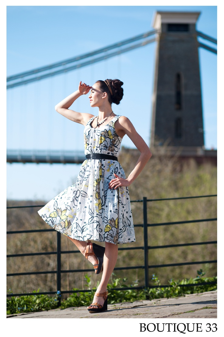 Model wearing Nomads dress in front of the Clifton Suspension Bridge. Photo by Charlotte Stone.