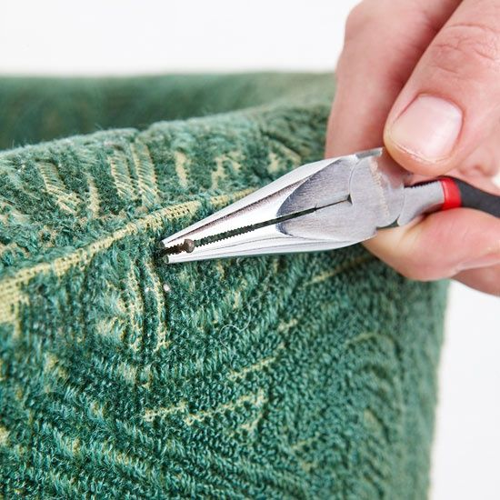 Chair Upholstery Step-By-Step Guide:  Furnishings with good bones but bad skin can be easily updated with fresh fabric. We show you basic upholstery techniques to get your furniture looking fashionable.