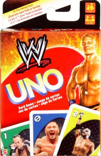 $29.99 WWE Wrestling UNO Card Game. Use the WWE Uno Card Game to play UNO in a battle of supremacy. Includes a special Royal Rumble card and extra game rule! And be sure to yell UNO! when youre about to show your dominance and win! Contains 112 cards and instructions. For Ages 7 and up. For 2 to 10 players.