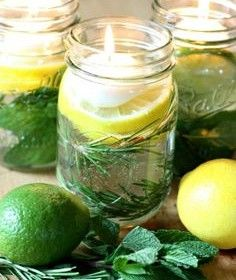 """""""Bug Off"""" in a Mason Jar! Add floating candles, citronella oil, mint, lemon, lime, & rosemary."""