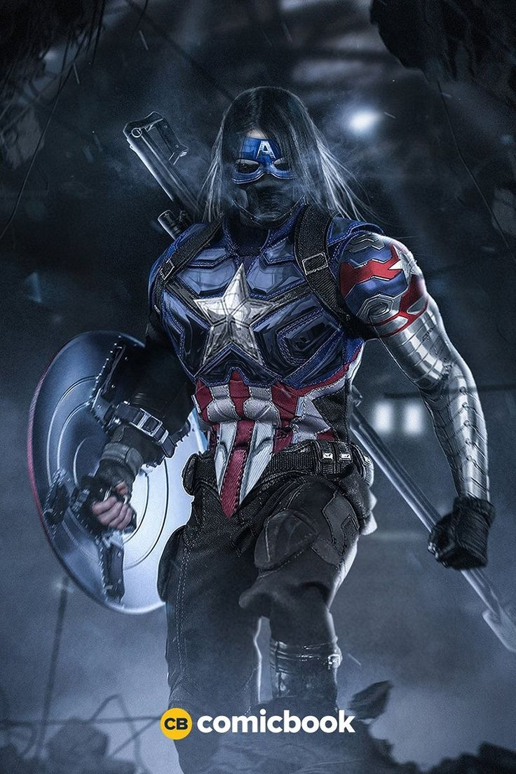 Bucky as Captain America with Winter Soldier Mask
