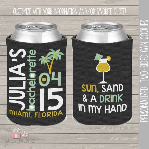 bachelorette party / bachelor party can coolies, coozies for wedding bachelor parties beach palm tree
