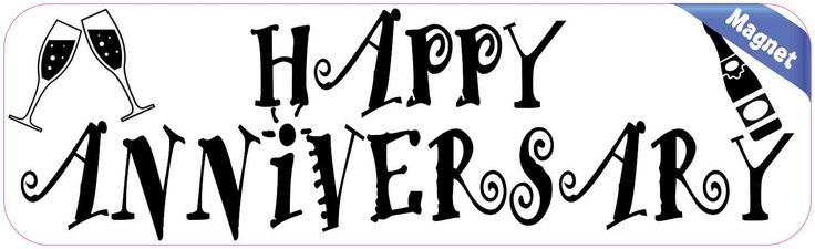 10in x 3in White Happy Anniversary Magnet Vinyl Occasion Vehicle Magnets