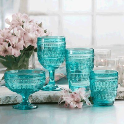 EuroCeramica Fez 12 oz. Old Fashioned Glass Color: Turquoise