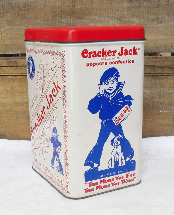 Sold. Vintage Cracker Jack Storage Tin, Mascot Sailor Jack and Bingo, Frito Lay Snack, Metal Canister, Kitchen Storage, Metal Storage Tin by AgsVintageCove on Etsy