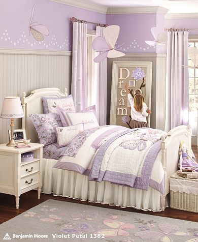 I absolutely love this for my little girls room!  I like the purple but I would probably go with a soft pink instead.