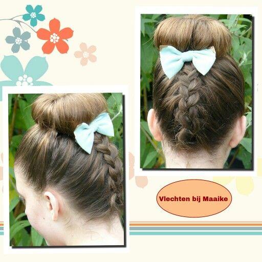 Opvlecht met knot # braid with bun www.mooibijmaaike.nl