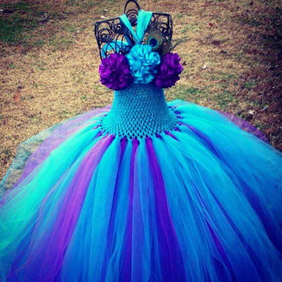 Peacock Couture Flower Girl Tutu Dress/ Pageant Attire/Tutu Dress on Etsy, $40.00