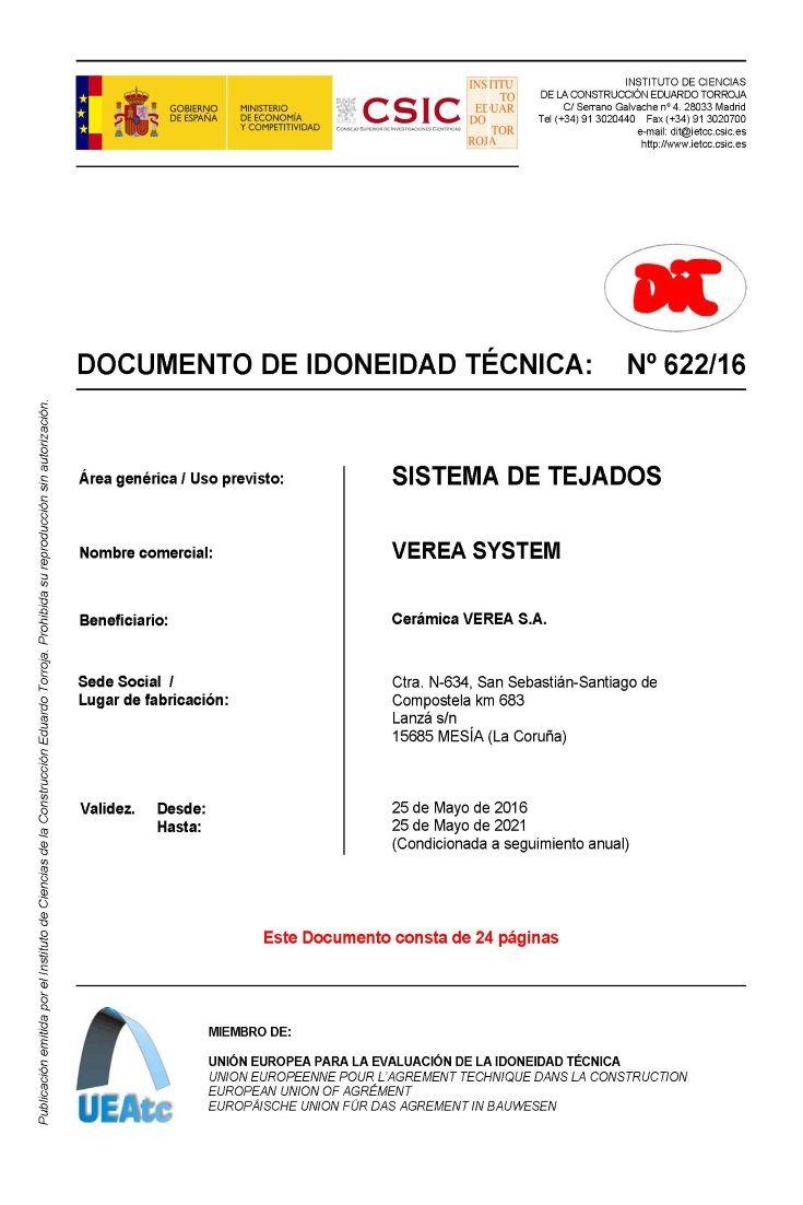 DIT 622-16 - VEREA SYSTEM -- El Sistema de Tejados VEREA SYSTEM configura un sistema de tejado multicapa integrado por tejas cerámicas curvas y mixtas dispuestas sobre placa ondulada de fibrocemento como soporte.