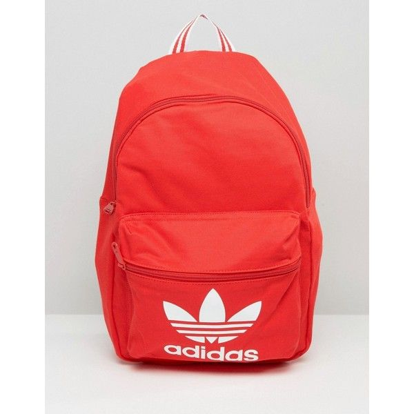 adidas Originals Backpack With Trefoil Logo ($46) ❤ liked on Polyvore featuring bags, backpacks, red, day pack backpack, zip top bag, red bag, rucksack bags and adidas bag