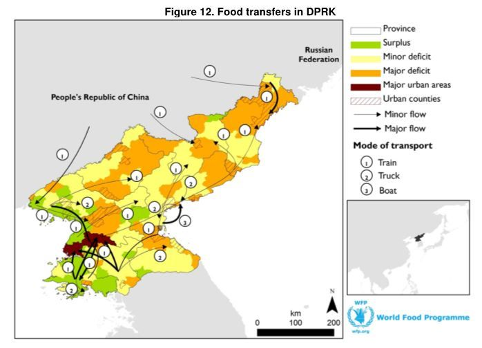 The WFP/FAO Food Security Assessment (02-12-2013)  Among the small sample the team was allowed to survey— the DPRK granted access to only 77 households— 16 percent had acceptable food consumption, half had borderline and one-third poor food consumption. Households dependent on the Public Distribution System remain particularly vulnerable  ... Supply chain constraints such as storage, transport and commodity tracking continue to bedevil the system.