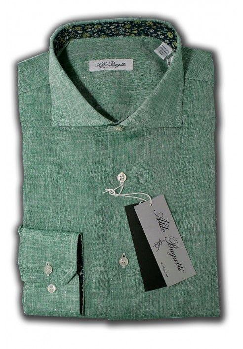 Camicia Uomo 100% Lino Verde con contrasti fantasia Slim Fit Collo Francese