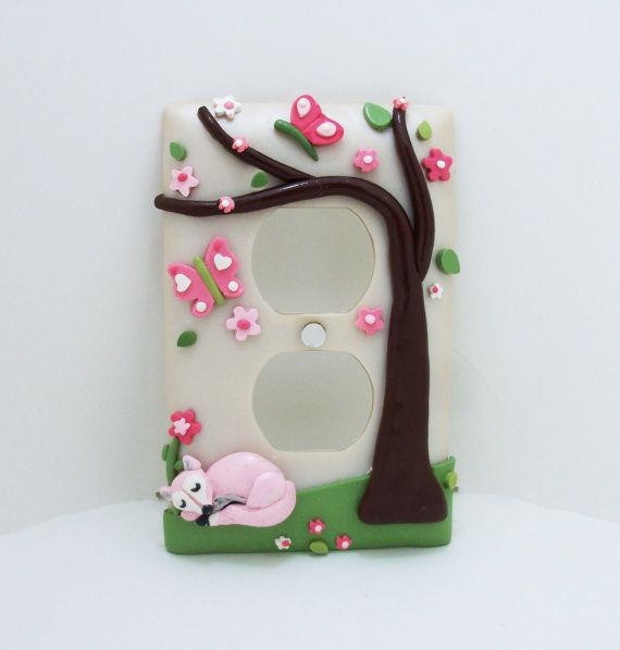 Fox and Butterflies Light Switch or Outlet Cover - Children's, Nursery