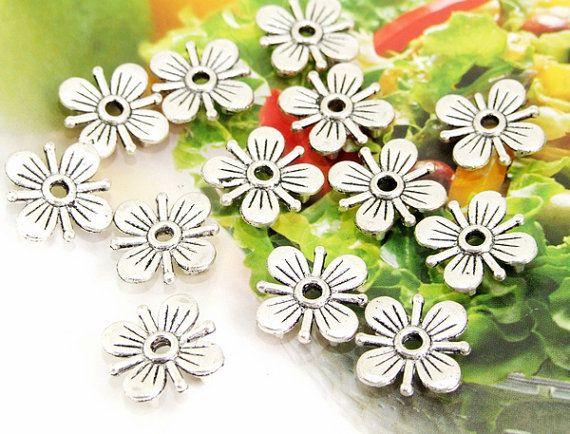25Beads Charm Plum Blossom Silver Plated Filigree by diygem