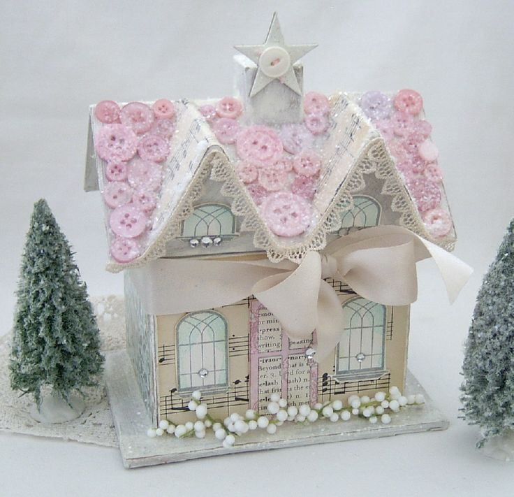 decorated paper mache house  | The 2nd kit is merry & bright....I love the colors and patterns....a ...
