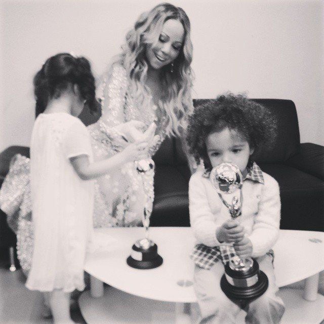 "Pin for Later: 63 Times Mariah Carey Proved She's the Most Glamorous Mom ""Check out my World Music Award trophies."""