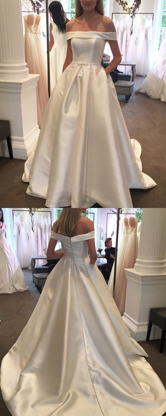 Sexy Off the Shoulder Court Train Satin Wedding Dresses for the Bride
