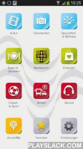 """Neckarsulm  Android App - playslack.com ,  Finden Sie Informationen rund um die Stadt Neckarsulm sowie Anbieter in Bereichen wie """"Essen & Trinken"""", """"Service"""" und """"Hotels"""". Treten Sie direkt in Kontakt mit den Ansprechpartnern verschiedener Ämter. Mit der CityApp Neckarsulm sind Sie jederzeit top informiert über Aktuelles und Veranstaltungen in der Stadt. Desweiteren finden Sie Informationen und Ansprechpartner der Stadtteile, welche Sie direkt aus der App anrufen oder per E-Mail…"""