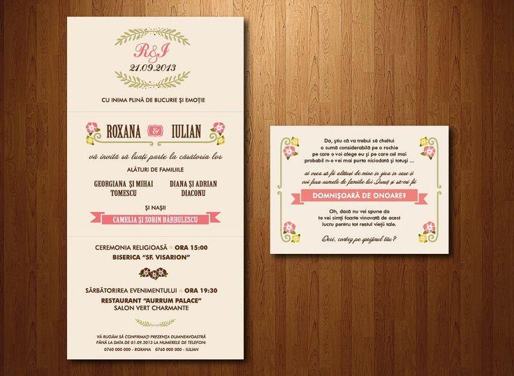 Invitație florală cu bufnițe (interior) cu închidere în 3 părți și card asortat pentru domnișoarele de onoare.