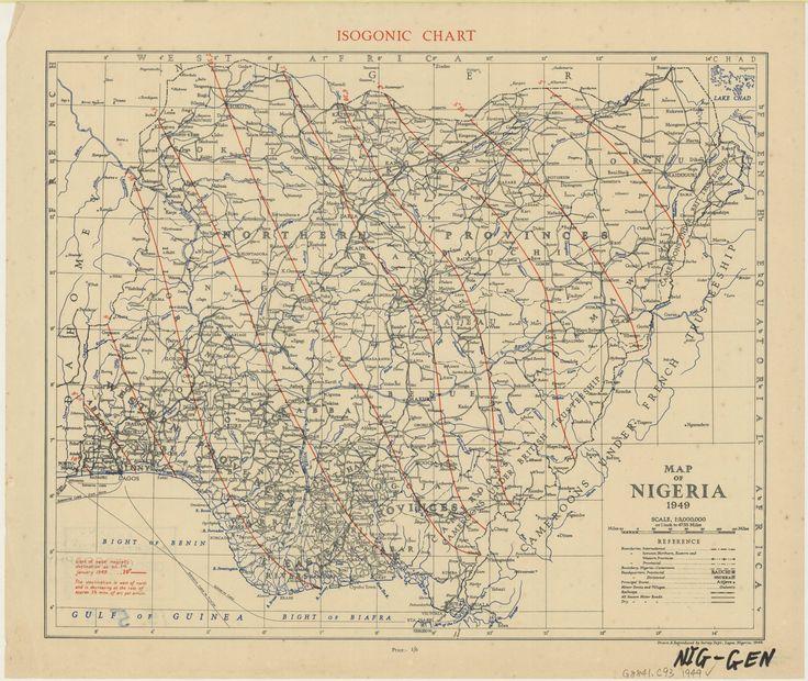 Map of Nigeria 1949, isogonic chart