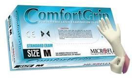 """Microflex® Medium Natural 9 1/2"""" ComfortGrip® 5.1 mil Latex Ambidextrous Non-Sterile Exam or Medical Grade Powder-Free Disposable Gloves With Textured Finish, Standard Examination Beaded Cuff And Polymer Coating(100 Each Per Box)"""