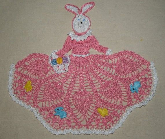 Easter Bunny Girl Doily Crochet Pattern by vjf25 on Etsy, $3.95