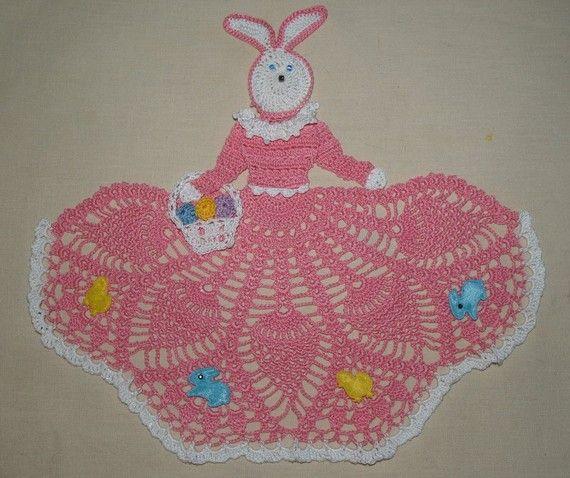 Easter Bunny Girl Doily Crochet Pattern by vjf25 on Etsy, $3.95