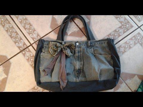 Tutorial: come cucire una borsa usando un vecchio jeans - YouTube