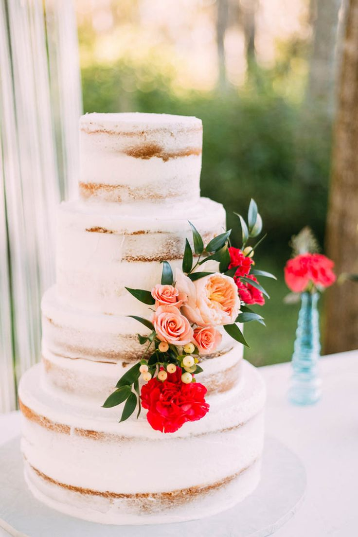 Semi Naked Cake by Chantilly Cakes - Bohemian Inspiration at the Barn at Crescent Lake - Photographer: Darin Crofton Photography - Orange Blossom Bride - www.orangeblossombride.com - click pin for more
