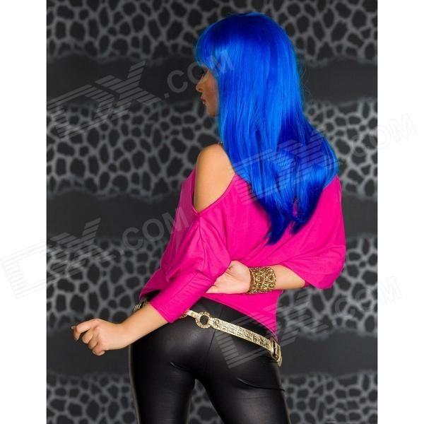 Fashionable Chain Strap Detail Bare-shoulder Top - Deep Pink