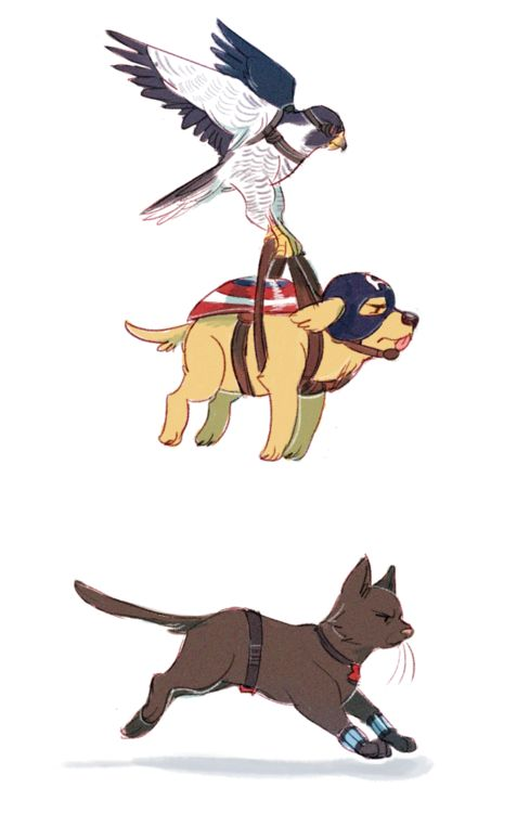 Bucky Barnes Harness : Image falcon sam wilson carrying dog steve rogers by a