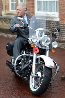 Prince Charles on a Harley Davidson at St James's Palace