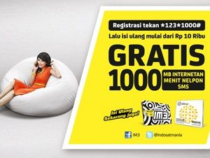 Indosat memberikan banyak bonus hingga 1000 Mb gratis internet untuk menyambut bulan suci Ramadhan. Selain itu kamu juga akan mendapatkan hingga 1000 Menit nelpon dan 1000 Sms ke sesama Indosat hanya dengan isi ulang mulai Rp 10.000. Paket yang diberi nama Promo 1000 berkah ini hanya berlaku untuk pelanggan Indosat (iM3 & Mentari). Cara mendapatkan