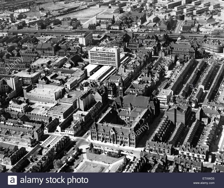An aerial view of the centre of Middlesbrough, 30th March 1967. Stock Photo